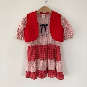 Vintage Sears Red & White Dress with Red Vest